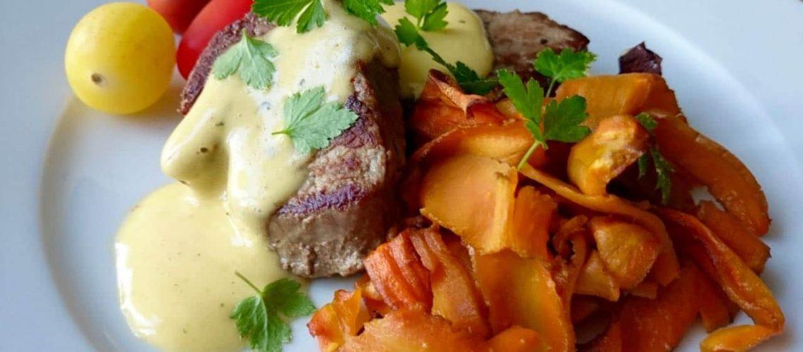 Stekt kalvfilé med ugnsrostade morötter
