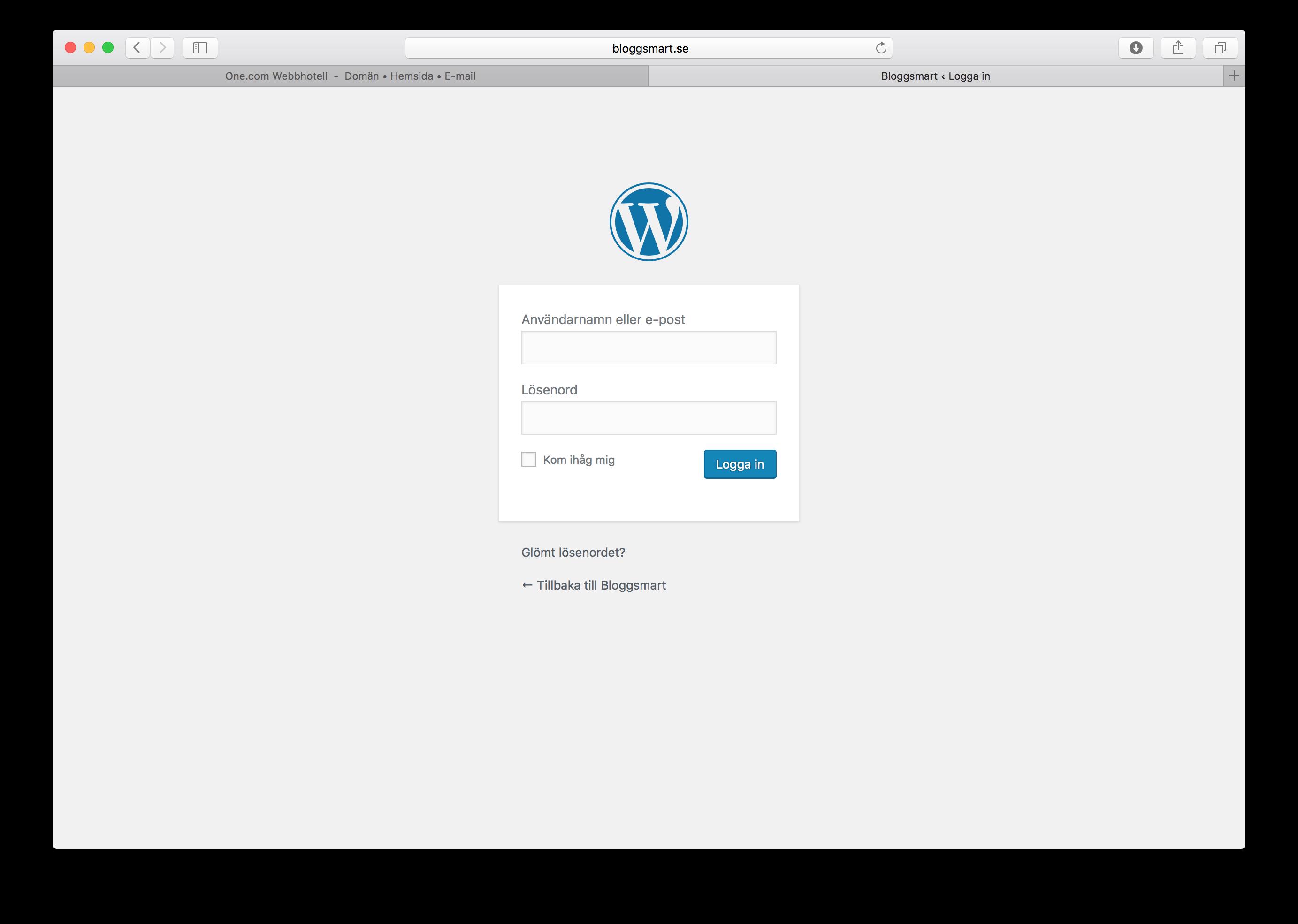 e kontakt logga in wordpress